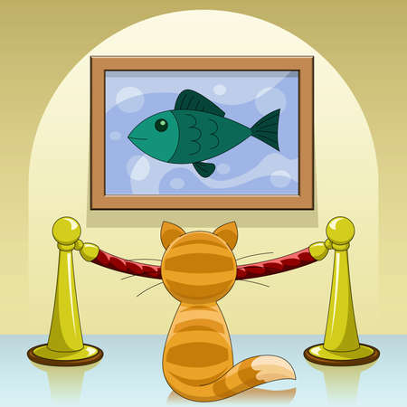 museum gallery: Cartoon cat in picture gallery  Illustration
