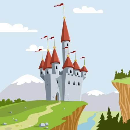 chateau: The chateau on a hill   Illustration
