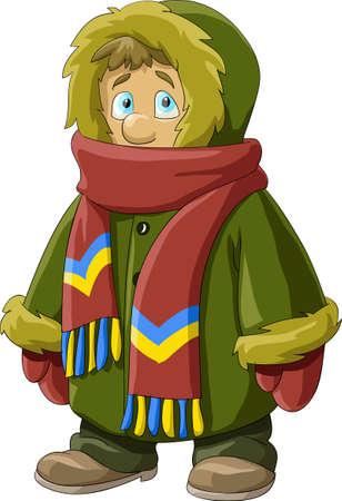 the mittens: Un ni�o en un abrigo de pieles