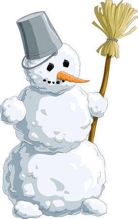 besom: Snowman with a broom