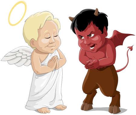 反対: 天使と悪魔を赤ちゃん  イラスト・ベクター素材