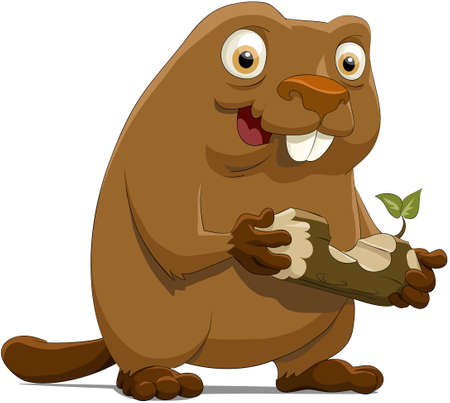 The beaver with a wood piece Stock Vector - 7804914