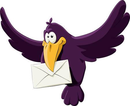 birds in flight: The purple crow with a letter in its beak