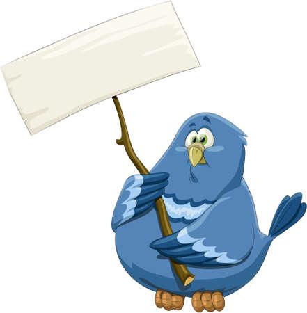 pigeons: Oiseau bleu avec une banni�re