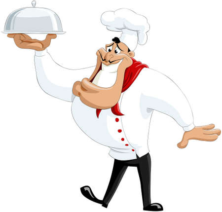 trays: The smiling cook with a dish Illustration