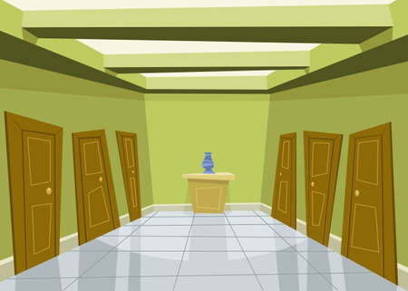 hall: Cartoon green corridor background illustration