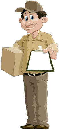 paper delivery person: The courier has brought a parcel