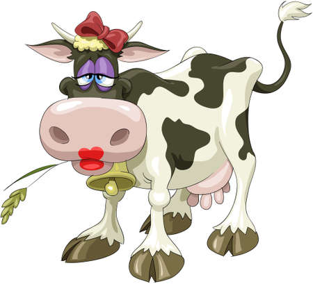 cow cartoon: A pretty cow with a bow Illustration