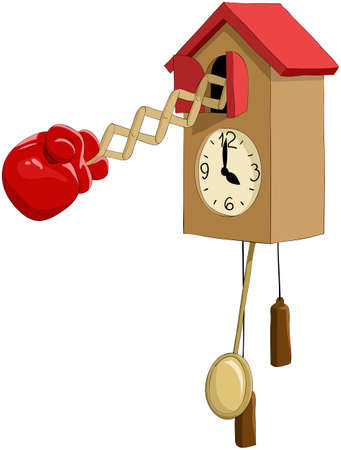 reloj de pendulo: Reloj de guante de boxeo de ilustraci�n de dibujos animados
