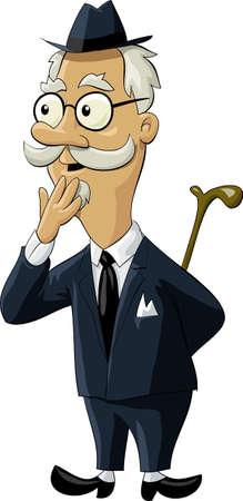 anciano: El anciano en un traje viejo  Vectores