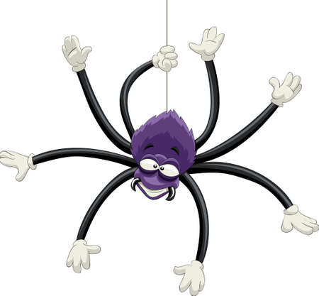 spiders: The ugly purple spider hangs on the web Illustration