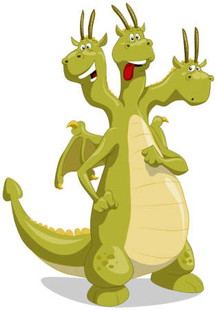 Amusing green dragon with three heads Vector