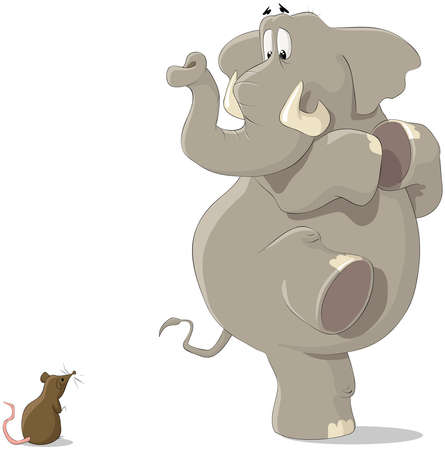 big cartoon: The elephant was frightened of a small mousy Illustration