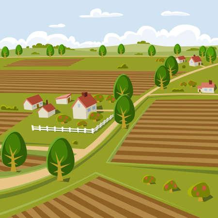 cartoon farm: Background illustration of a farmer landscape Illustration