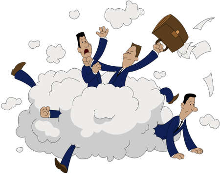 Fight of office workers cartoon illustration