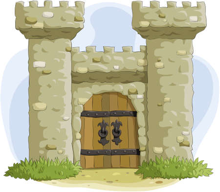 old door: The ancient fortress with a gate Illustration