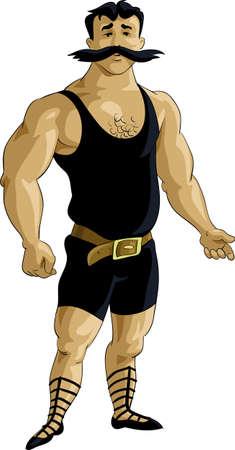 cartoon old man: Retro bodybuilder in black tights Illustration