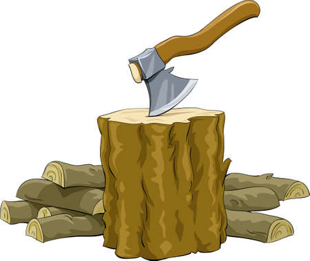 Stump with an ax and firewood Vector