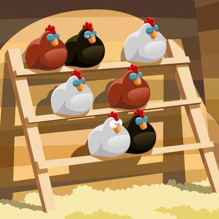 aves caricatura: Las gallinas duermen en una percha en un gallinero