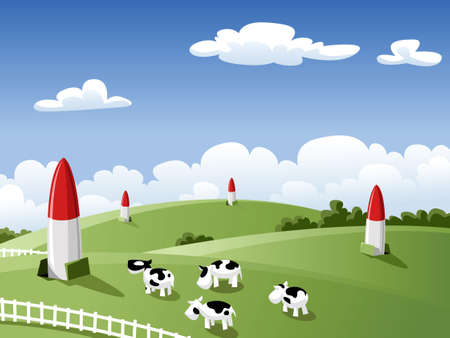 threats: Landscape with cows and rockets, vector illustration