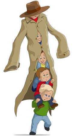 camouflaged: Children have camouflaged under the adult person Illustration