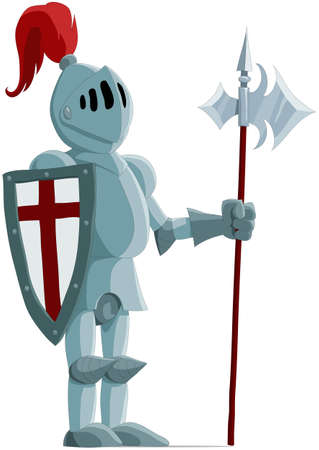 cartoon knight: The knight in an iron armour Illustration