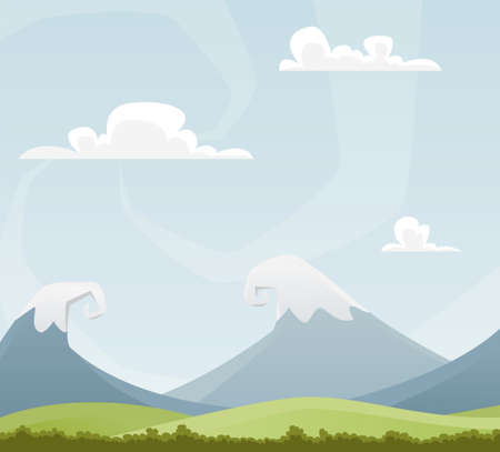 sunlight sky: Amusing cartoon landscape with mountains Illustration