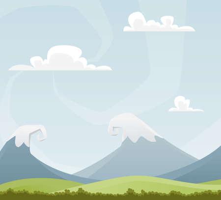 nubes caricatura: Divertidas de dibujos animados paisaje, con monta�as