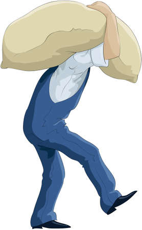 De man draagt een zak