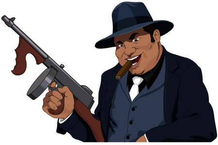 cartoon gangster: The Mafiosi with the automatic weapon Illustration
