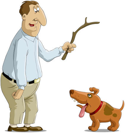 The man plays with a dog Stock Vector - 7905585