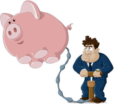 The person pumps a pig Vector