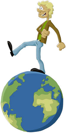 The man walks on globe Vector