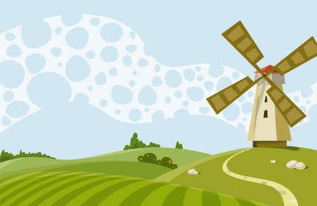 windmolen: Cartoon illustratie een landschap met een wind molen  Stock Illustratie
