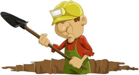L'uomo scava una pala in un buco