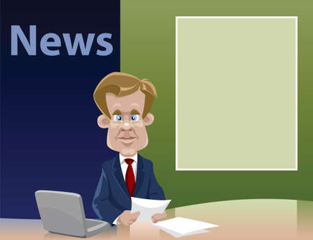 Cartoon the teleleader of news Stock Vector - 7905591