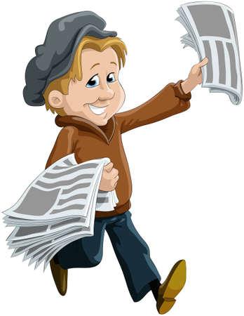 Il bambino, il messaggero di giornali Vettoriali