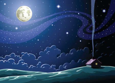 luna caricatura: Noche estrellada en la aldea  Vectores