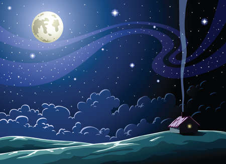 clouds cartoon: Starry Night in the village