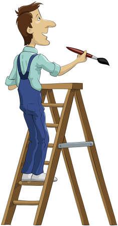 stepladder: The house painter on a stepladder Illustration