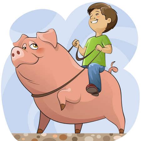 El muchacho en un cerdo