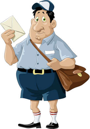 cartero: Un cartero con una bolsa y una carta  Vectores