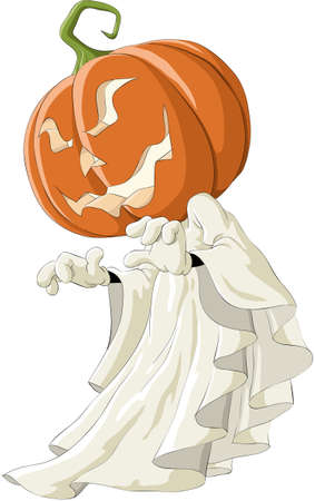 Illustration of a ghost with pumpkin head Vector
