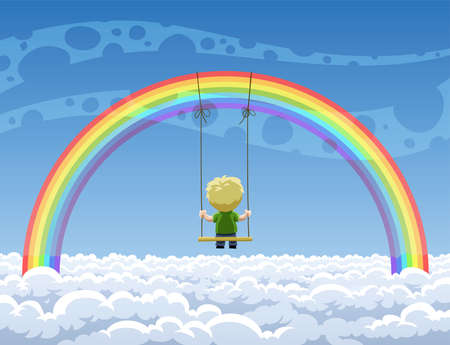 Boy swinging on a swing hanging from a rainbow Vector