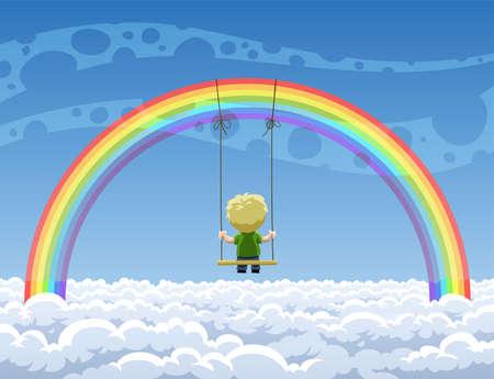 cartoon rainbow: Chico oscilando en un columpio colgando de un arco iris  Vectores