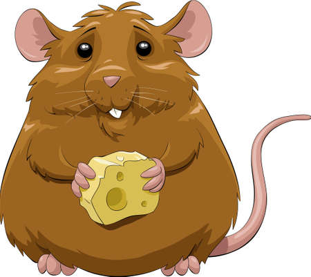 A mouse with a hunk of cheese Vector