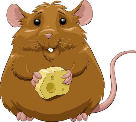 maus cartoon: Eine Maus mit einem St�ck K�se  Illustration