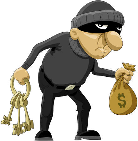 The robber in a mask and with money