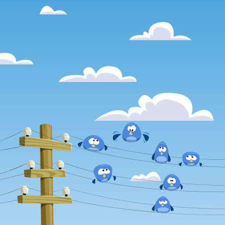 telegraaf: Een zwerm vogels zittend op draden  Stock Illustratie