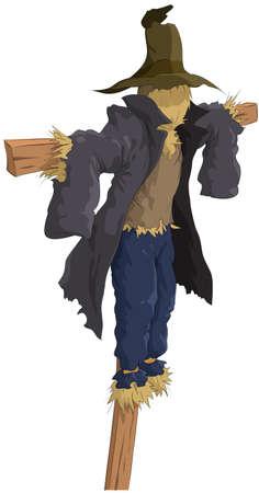 Cartoon garden scarecrow from straw Stock Vector - 7905629
